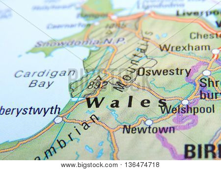 Map of Great Britain with focus set on Wales.