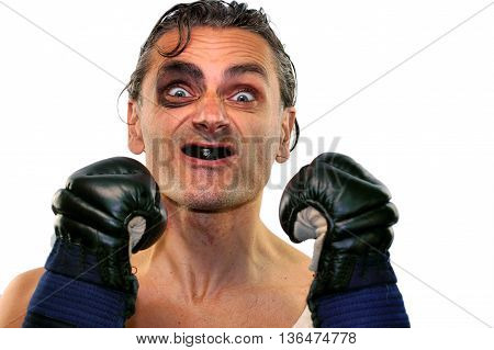 Funny boxer man with boxing gloves on white background