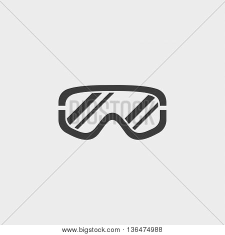 Goggles outline monochrome icon in a flat design in black color. Vector illustration eps10