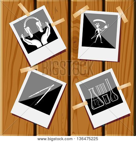 4 images: chemical test tubes, ethnic little man with brush, caliper, headphones in hands. Education set. Photo frames on wooden desk. Vector icons.