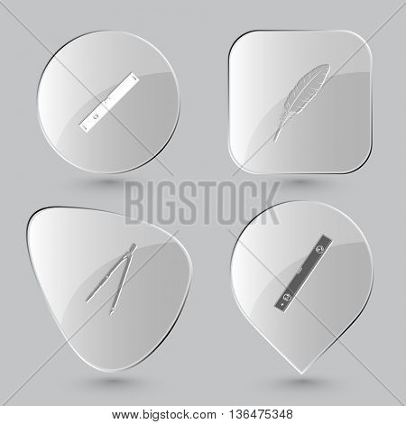 4 images: spirit level, feather, caliper. Angularly set. Glass buttons on gray background. Vector icons.