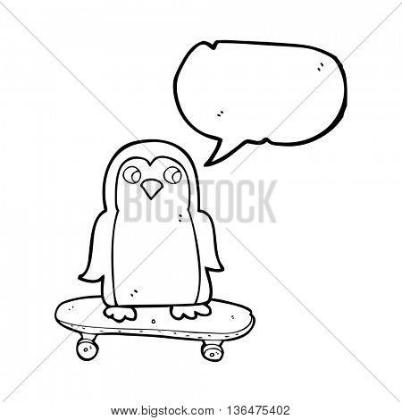 freehand drawn speech bubble cartoon penguin riding skateboard