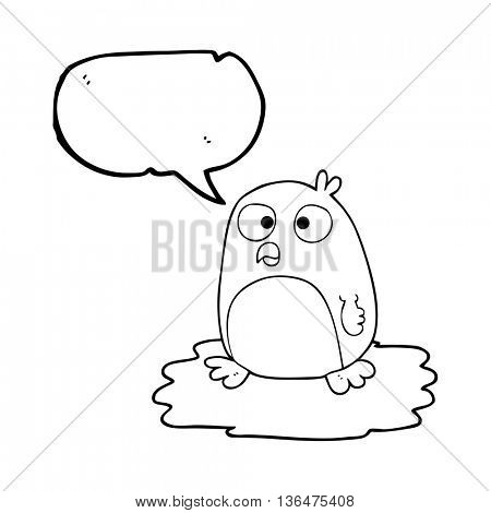 freehand drawn speech bubble cartoon penguin on ice