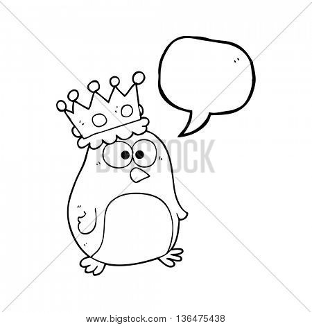 freehand drawn speech bubble cartoon emperor penguin