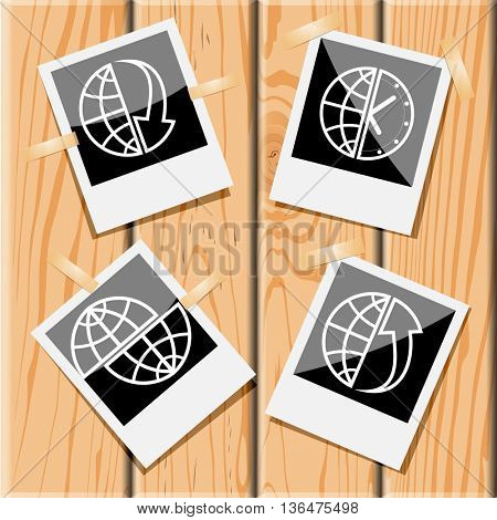4 images: globe and array down, and clock, and array up, shift globe. Globe set. Photo frames on wooden desk. Vector icons.