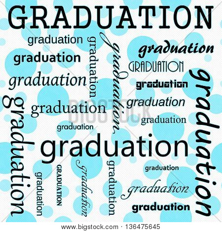 Graduation Design with Teal and White Polka Dot Tile Pattern Repeat Background that is seamless and repeats,3D Illustration