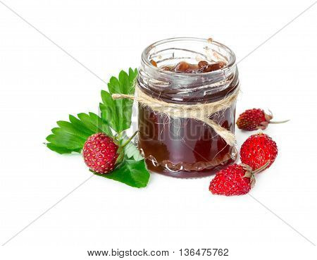 Jam Made From Wild Strawberries In Glass Jar