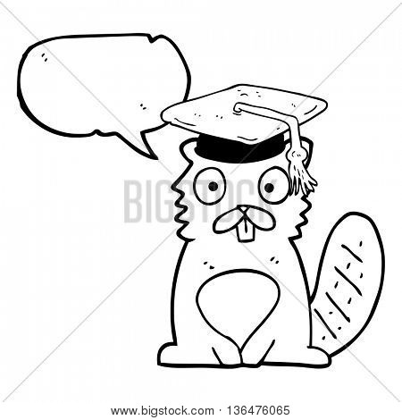freehand drawn speech bubble cartoon beaver graduate