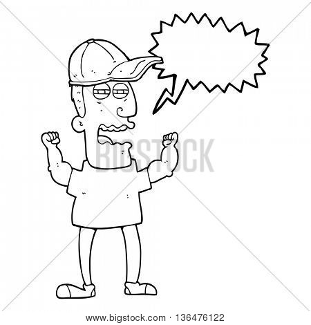 freehand drawn speech bubble cartoon stressed man