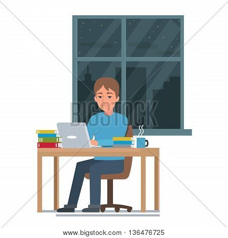 Student study hard before exam. Vector illustration.