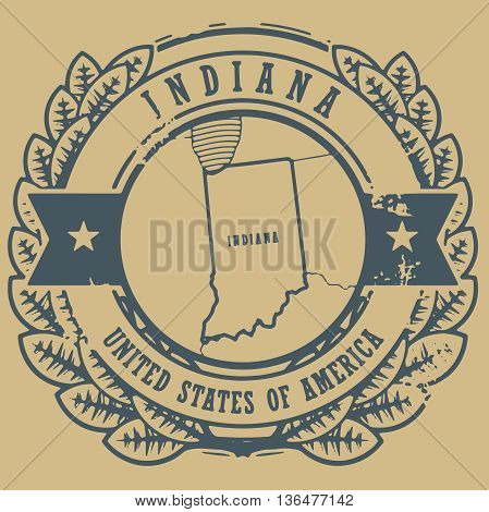 Grunge rubber stamp with name and map of Indiana, USA, vector illustration