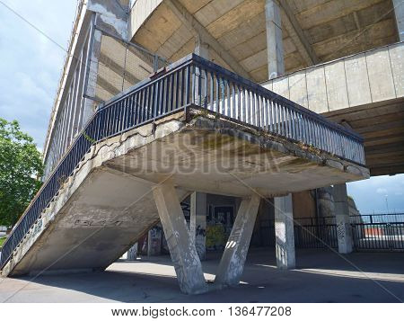 stairs and concrete structure of old strahov stadion in prague in czech republic
