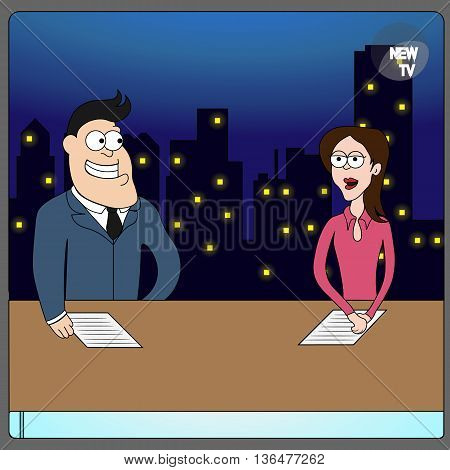 leading broadcast on TV news media on television on the background of night city flat vector illustration