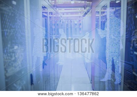 Image of data center against shiny silhouettes on blue background