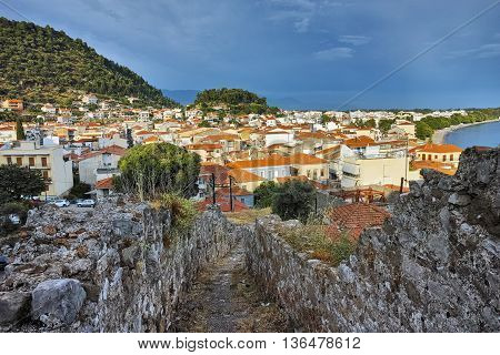 Amazing sunset panorama of town of Nafpaktos, Western Greece