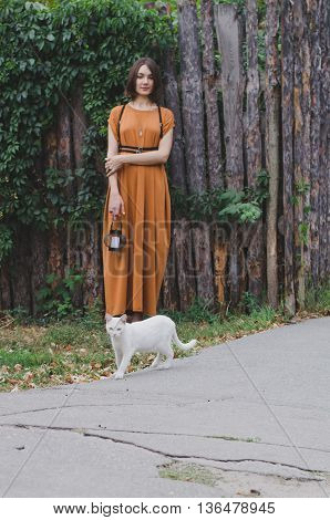 Girl And White Cat