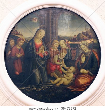ZAGREB, CROATIA - DECEMBER 08: Jacopo del Sellaio: The Birth of Jesus, Old Masters Collection, Croatian Academy of Sciences, December 08, 2014 in Zagreb, Croatia