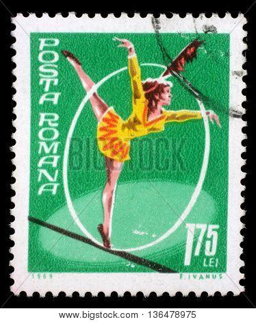 ZAGREB, CROATIA - JULY 19: a stamp printed in Romania shows Tightrope walking, Circus series, circa 1969, on July 19, 2012, Zagreb, Croatia