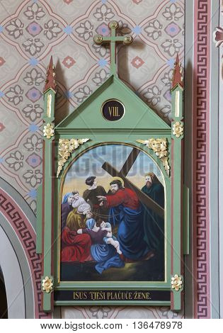 STITAR, CROATIA - AUGUST 27: 8th Stations of the Cross,Jesus meets the daughters of Jerusalem, church of Saint Matthew in Stitar, Croatia on August 27, 2015