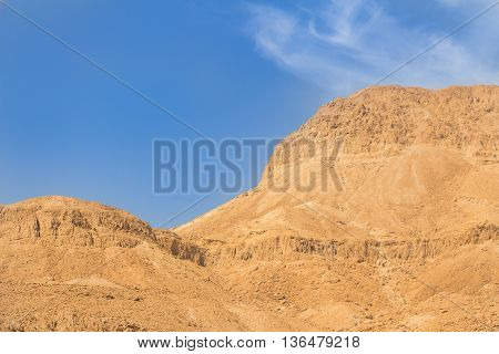 Mountains and sky in the Israel desert. Dead sea