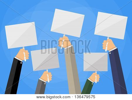 Five cartoon businessmens hands holding white empty sign boards. Vector illustration in flat design on blue background