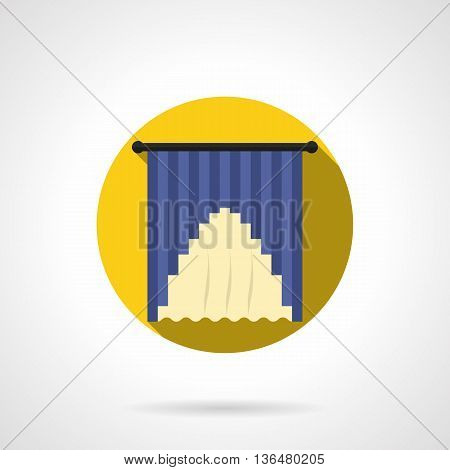 Blue and yellow hanging drapes. Curtains decoration for home, hotel, restaurant or other public places interior. Round flat color style vector icon.