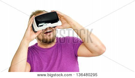 Young Man Wearing Virtual Reality Googles / Vr Glasses