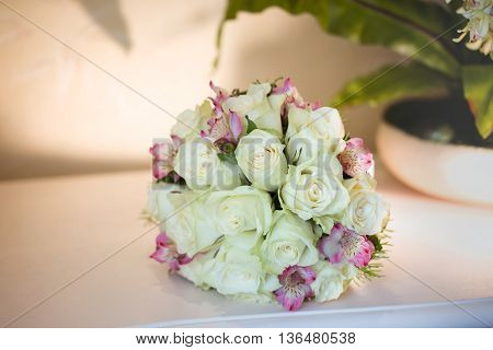 Beautiful bouquet of roses close up .