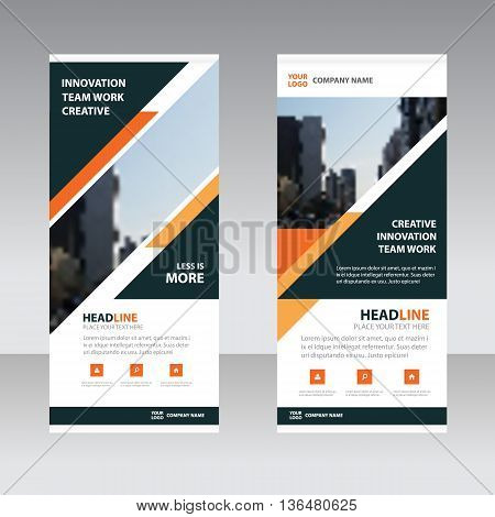 Orange black triangle polygon astract triangle Business Roll Up Banner flat design template Abstract Geometric banner template Vector illustration set abstract presentation template