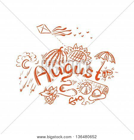 August - summer handwritten lettering. Vector typography and season sketch.