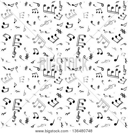 Music notes - seamless vector design. Endless pattern.