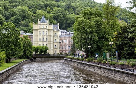 KARLOVY VARY, CZECH REPUBLIK - JUNE 4, 2013:Embankment of the river Tepla