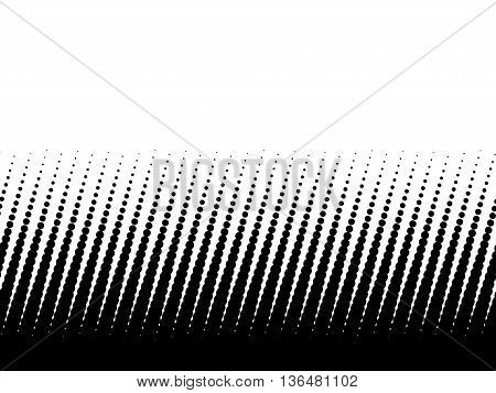 Halftone background of black dots on white background. Gradient of large dots at the bottom and smaller dots at the top of illustration. Looks like sharp spikes.