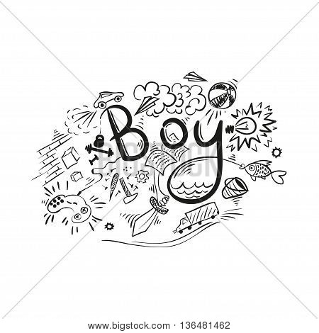 Word Boy - handwritten lettering. Calligraphy with male sketch.