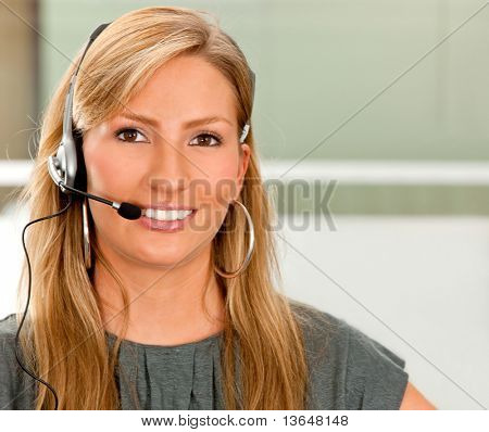 Female customer support operator at the office