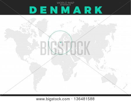 Denmark location modern detailed map. All world countries without names. Vector template of beautiful flat grayscale map design with selected country name text and border location