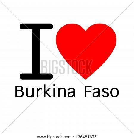 i love Burkina Faso lettering illustration design with heart sign