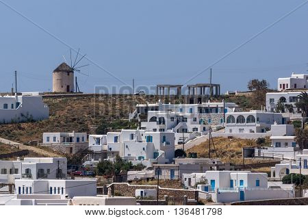 Panoramic view of Town of Ano Mera, island of Mykonos, Cyclades, Greece