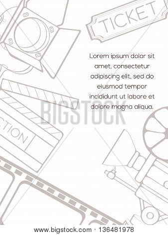 Hand drawn vector cinema card which can be used for movie cards, invitation or website. Cinema bright card. Movie design. Film card concept
