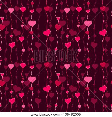 Crimson and pink hearts - vector seamless design as background pattern, textile or wrapping paper ornament.
