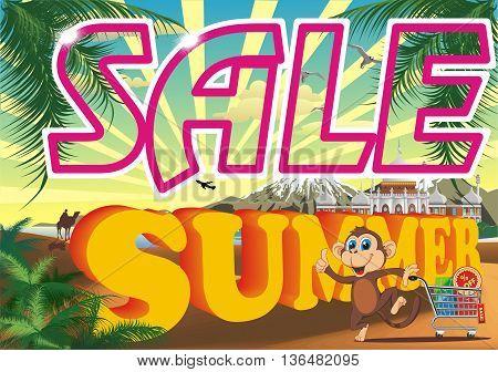 Summer Sale. Summer Sale Banner - Vector Illustration. Super Summer Sale Card. Big Sale Background. Discount Sale Poster.