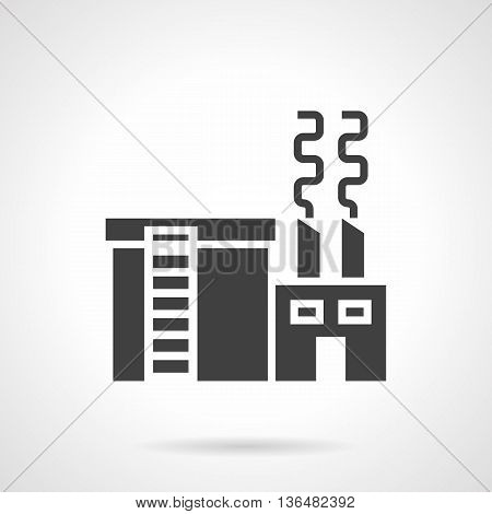 Abstract monochrome silhouette sign of metallurgical plant. Heavy industry factory. Industrial facilities and objects. Symbolic black glyph style vector icon.
