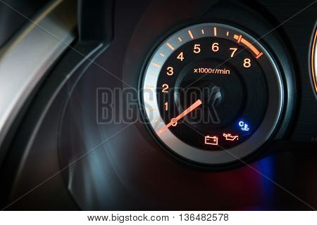 Modern car illuminated dashboard closeup. Car, Dashboard,