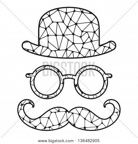 Black and white stylized bowler glasses and mustache. Vector print isolated on white. Template for laser cutting.