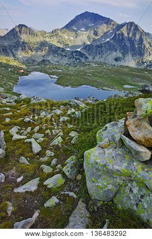 Amazing Panorama of Kamenitsa Peak And Tevno lake, Pirin Mountain, Bulgaria