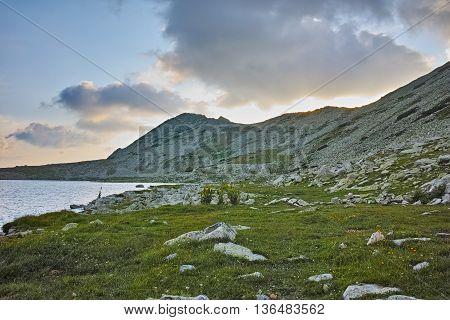 Sunset at Kamenitsa Peak And Tevno lake, Pirin Mountain, Bulgaria