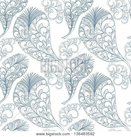 Seamless feather zentangle style pattern can be used for wallpaper, website background, wrapping paper. Feather hand-drawn vector bright pattern. Zentangle design. Natural concept.