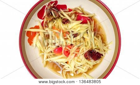 Papaya Salad and crab salty isolate white background