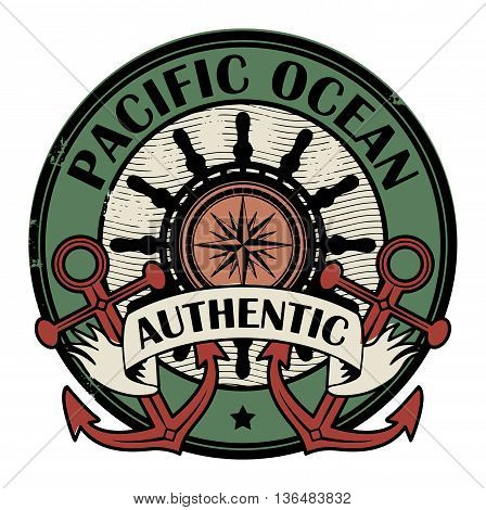Grunge rubber color stamp with the words Pacific Ocean written inside the stamp