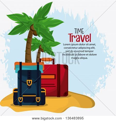 Time to travel concept represented by baggage icon. Isolated and Colorfull Illustration